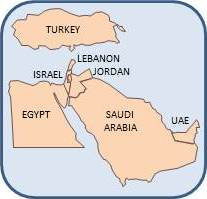 Map of the Middle East, displaying Egypt, Turkey, Israel, Lebanon, Jordan, Saudi Arabia, and UAE