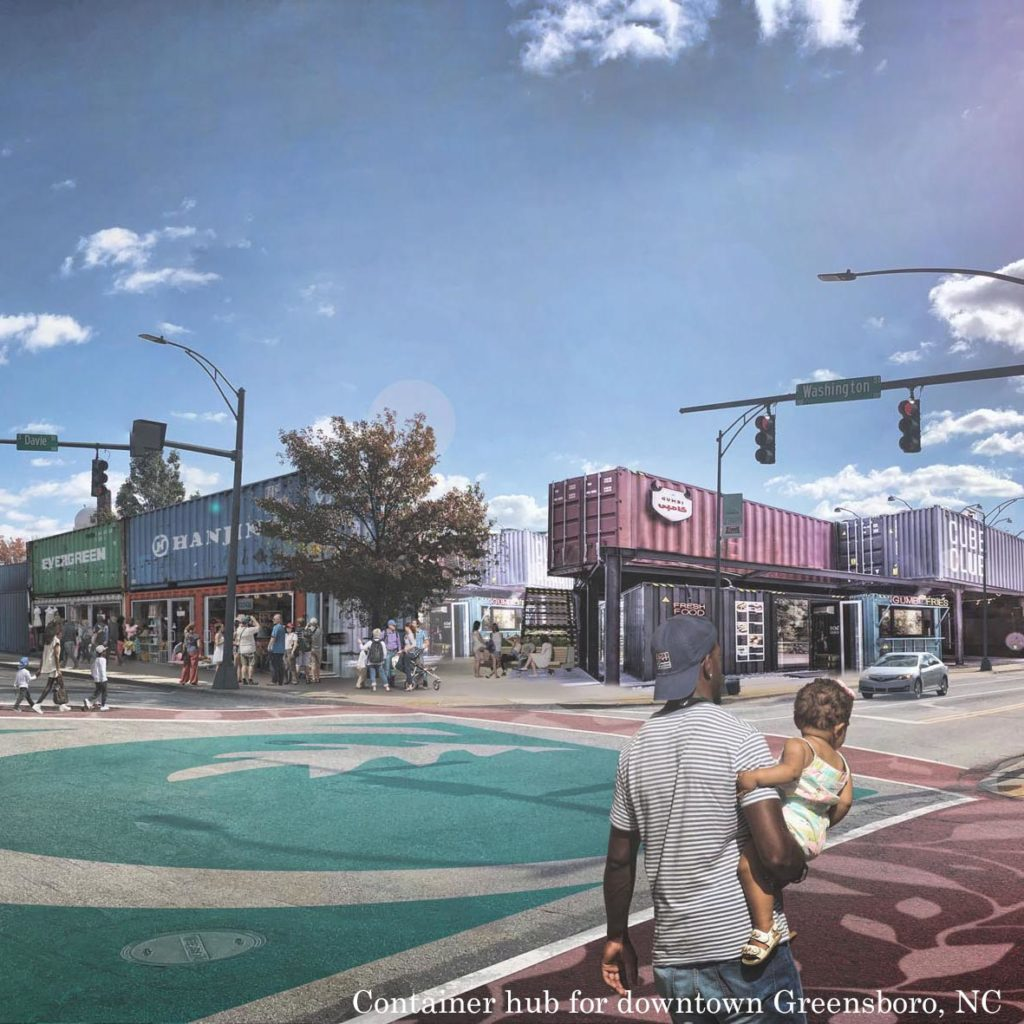 Rendering shows a downtown street corner where shipping containers are used to create colorful two-story buildings with first floor storefronts.