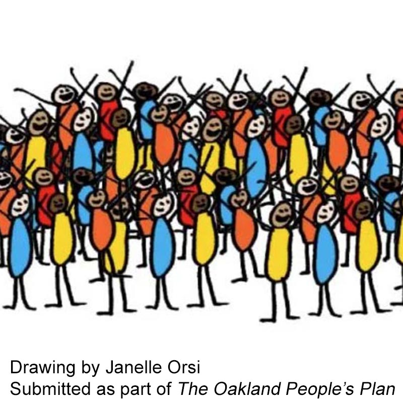 Stick drawings of people of various bright colors raise their arms