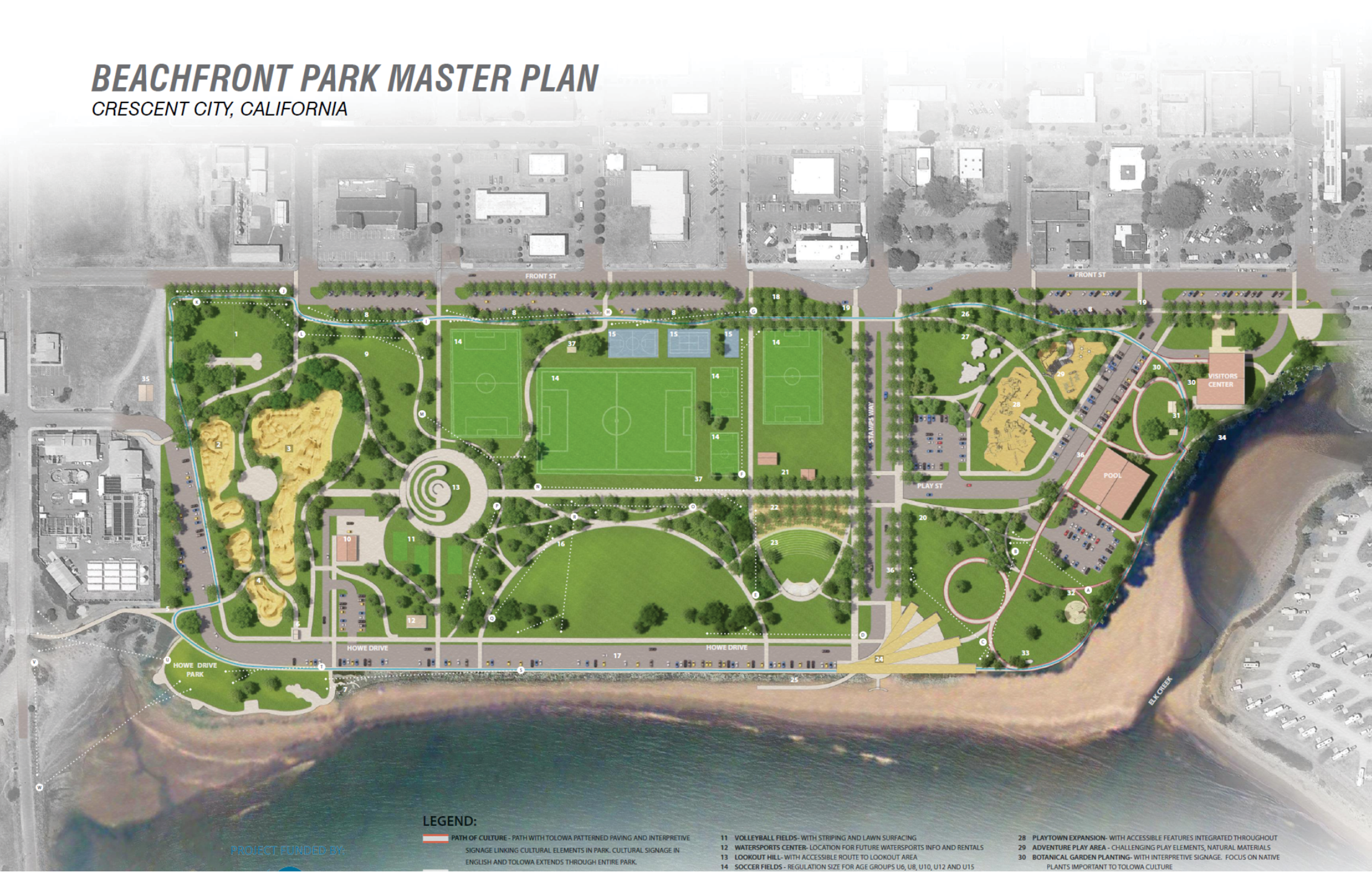 A preliminary layout of the City's Beachfront Park that includes playgrounds, sport fields, an amphitheater, and large open grass areas to enjoy ocean waves.