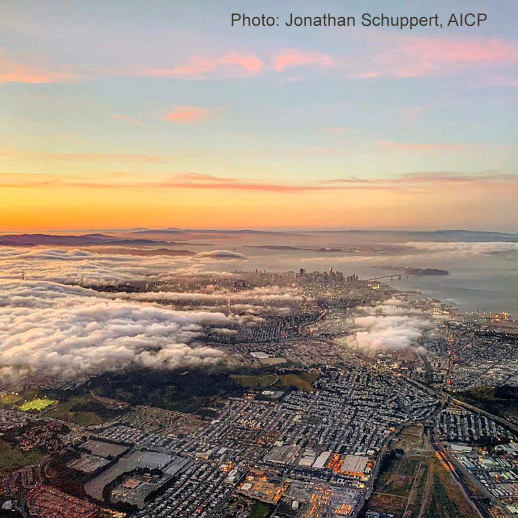 Sunset above San Francisco from the Cow Palace to the Bay Bridge, by Jonathan Schuppert, AICP, 4-26-19
