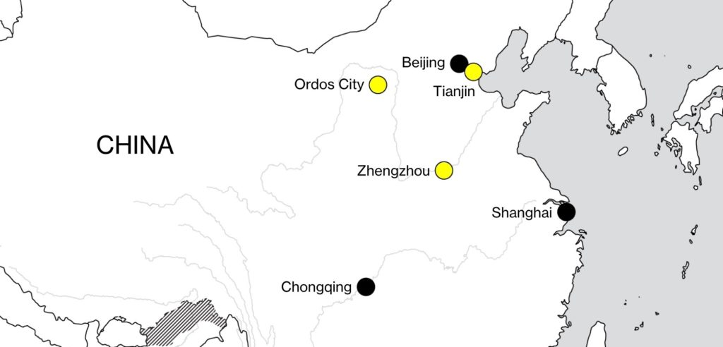 Map of Northern China indicating the cities in the article